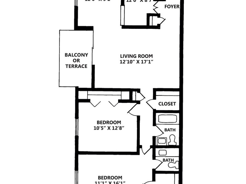2 Bedroom Apartment with One and Half Baths